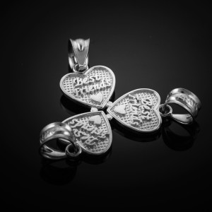 3pc White Gold 'Best Friends' Heart Charm Set