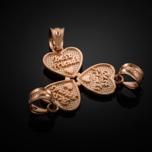 3pc Rose Gold 'Best Friends' Heart Charm Set