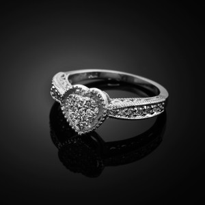 White Gold Diamond-Studded Heart Ring