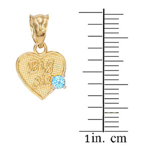 3pc Gold 'Mom' 'Big Sis' 'Little Sis' Dual CZ Birthstone Heart Charm Set