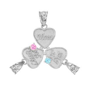 3pc White Gold 'Mom' 'Big Sis' 'Little Sis' Dual CZ Birthstone Heart Charm Set