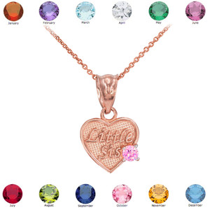 Rose Gold 'Little Sis' Birthstone CZ Heart Charm Necklace