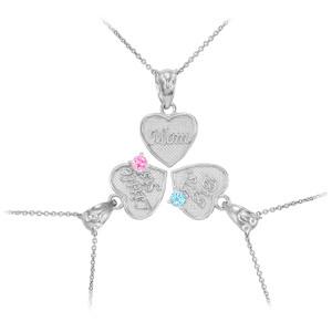 3pc Silver 'Mom' 'Big Sis' 'Little Sis' Dual Birthstone CZ Heart Necklace Set