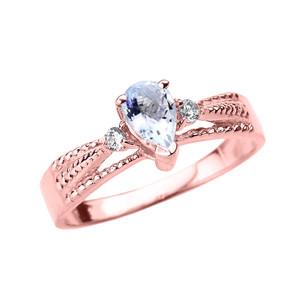 Rose Gold Aquamarine and Diamond Ladies Ring