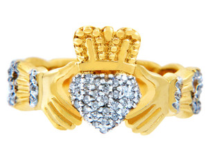 Gold Claddagh Rings with Diamonds .50 carats.
