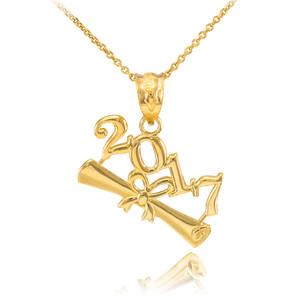 2017 Class Graduation Gold Pendant Necklace