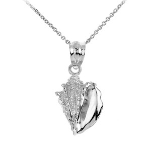 Sterling Silver Seashell Charm Pendant Necklace