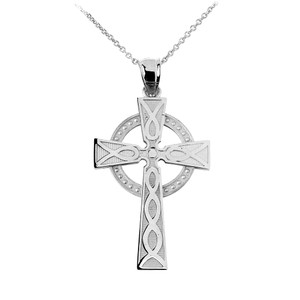 925 Sterling Silver Celtic Cross Pendant Necklace