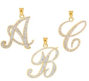 """14k Gold Letter Script """"A"""" Diamond Initial Pendant Necklace"""