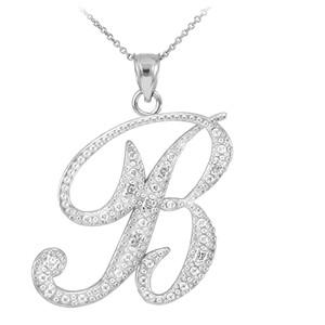 "14k White Gold Letter Script ""B"" Diamond Initial Pendant Necklace"