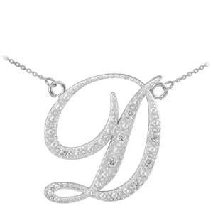 """14k White Gold Letter Script """"D"""" Diamond Initial  Necklace"""