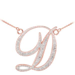 """14k Rose Gold Letter Script """"D"""" Diamond Initial  Necklace"""