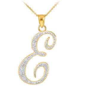 """14k Gold Letter Script """"E"""" Diamond Initial Pendant Necklace"""