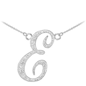 "14k White Gold Letter Script ""E"" Diamond Initial Necklace"