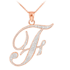 "14k Rose Gold Letter Script ""F"" Diamond Initial Pendant Necklace"
