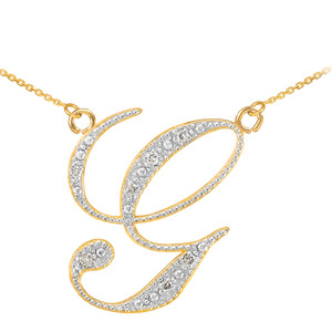 "14k Gold Letter Script ""G"" Diamond Initial Necklace"