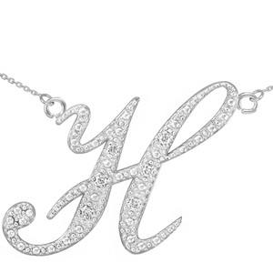 "14k White Gold Letter Script ""H"" Diamond Initial Necklace"