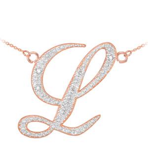 """14k Rose Gold Letter Script """"L"""" Diamond Initial Necklace"""