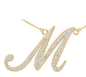 "14k Gold Letter Script ""M"" Diamond Initial Necklace"