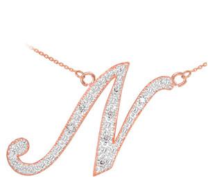 "14k Rose Gold Letter Script ""N"" Diamond Initial Necklace"