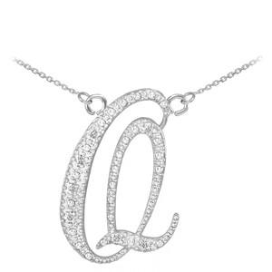 "14k White Gold Letter Script ""Q"" Diamond Initial Necklace"