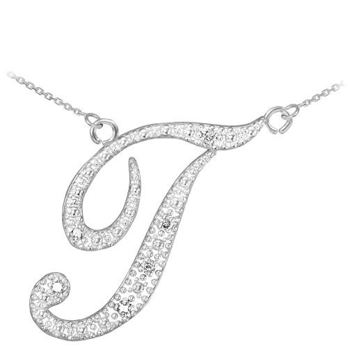"14k White Gold Letter Script ""T"" Diamond Initial Necklace"
