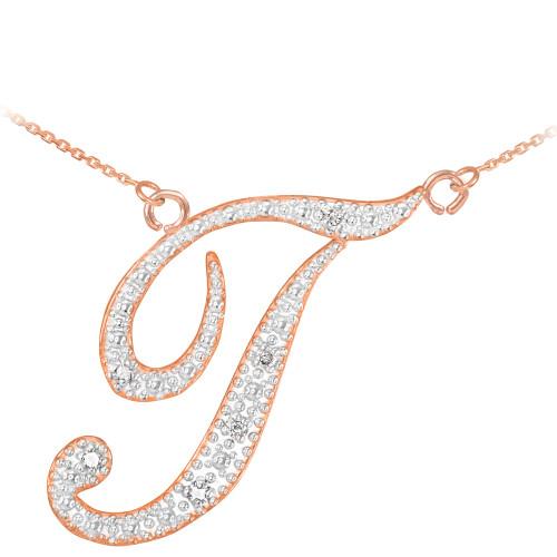 "14k Rose Gold Letter Script ""T"" Diamond Initial Necklace"