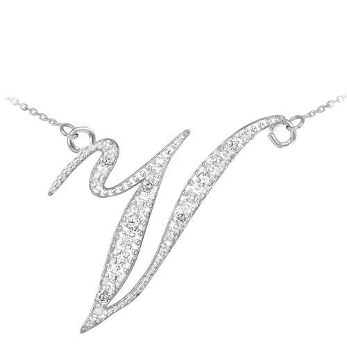 """14k White Gold Letter Script """"V"""" Diamond Initial Necklace"""