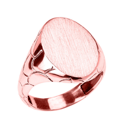 Rose Gold Nugget Band Oval Engravable Signet Ring