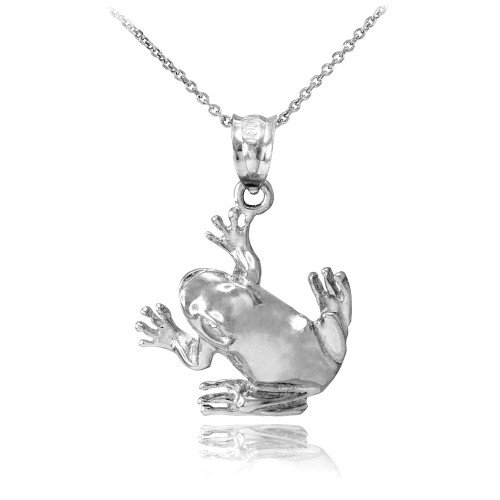 Sterling Silver Frog Pendant Necklace