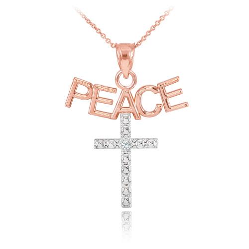 14K Two Tone Rose Gold PEACE Cross Diamond Pendant Necklace