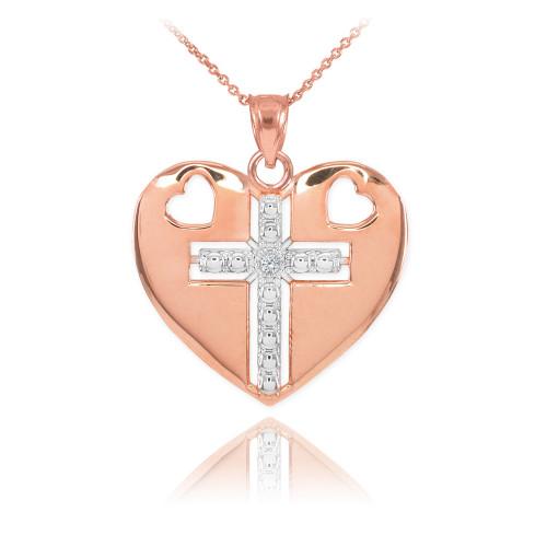 14K Two Tone Rose Gold Heart Cross Diamond Pendant Necklace