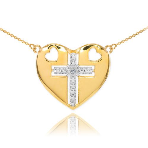 14K Two Tone Gold Heart Cross Diamond Necklace