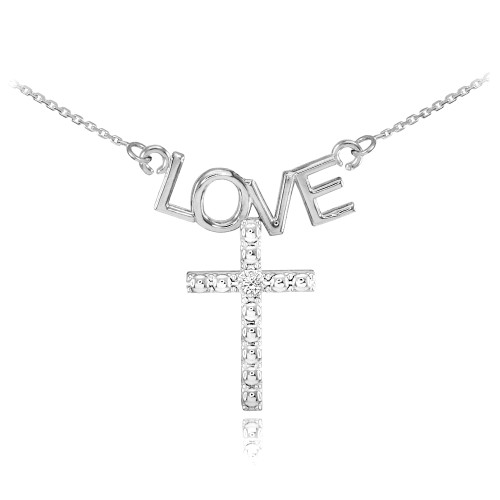 14K White Gold LOVE Cross Diamond Necklace