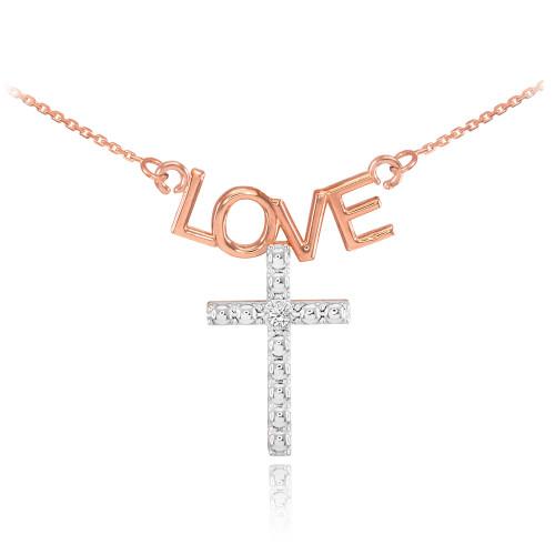 14K Two Tone Rose Gold LOVE Cross Diamond Necklace