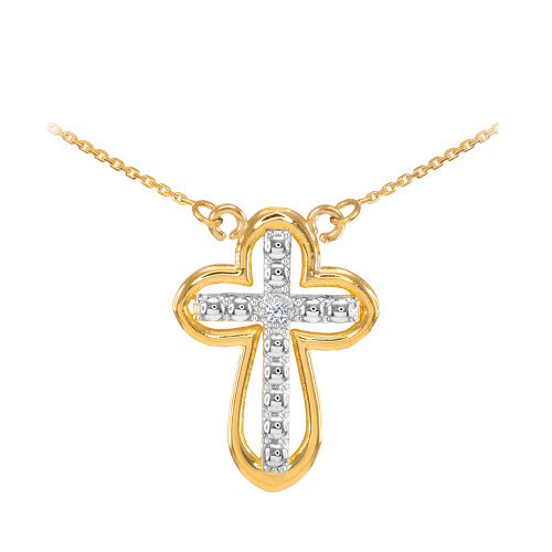 14K Two Tone Gold Diamond Cross Necklace