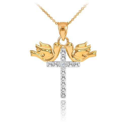 14K Two Tone Gold Pigeon Cross Diamond Pendant Necklace