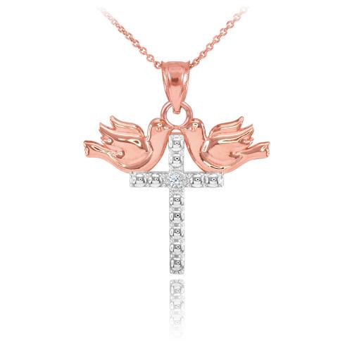 14K Two Tone Rose Gold Pigeon Cross Diamond Pendant Necklace