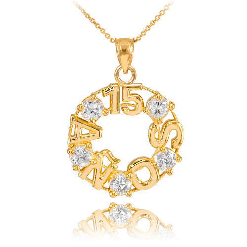 14K Yellow Gold 15 Años CZ Pendant Necklace