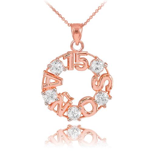 14K Rose Gold 15 Años CZ Pendant Necklace