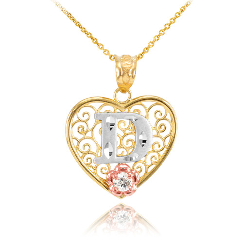 """Two Tone Yellow Gold Filigree Heart """"D"""" Initial CZ Pendant Necklace"""