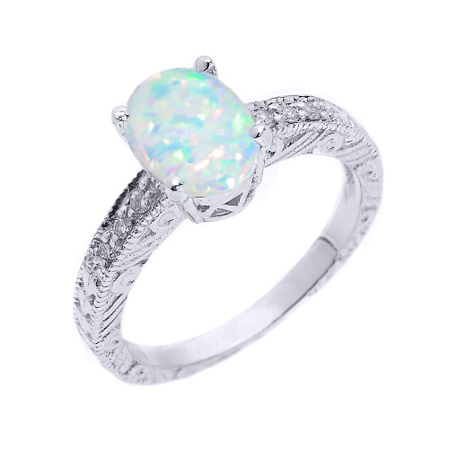 Sterling Silver Art Deco Lab Created Opal and CZ Birthstone Ring