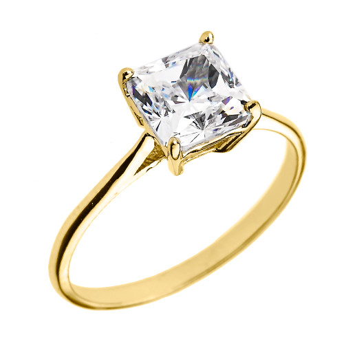 Yellow Gold 3.00 ct Princess Cut CZ Dainty Solitaire Engagement Ring