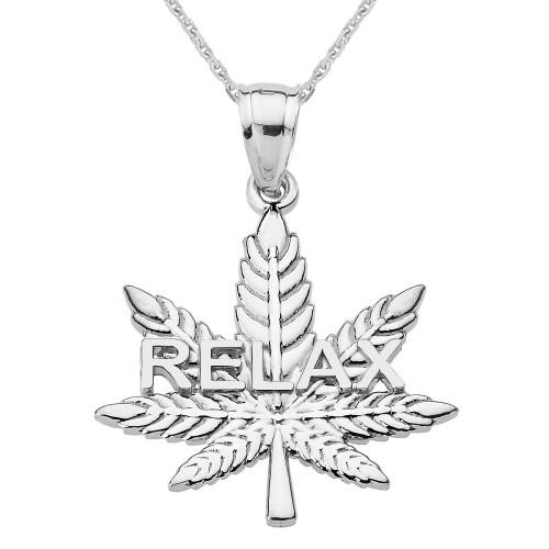 "White Gold Marijuana Cannabis Leaf ""RELAX"" Script Pendant Necklace"