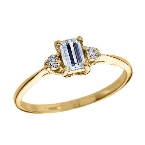 Yellow Gold Aquamarine And Diamond Proposal Ring: Beautiful Yellow Gold Diamond And Aquamarine Proposal And