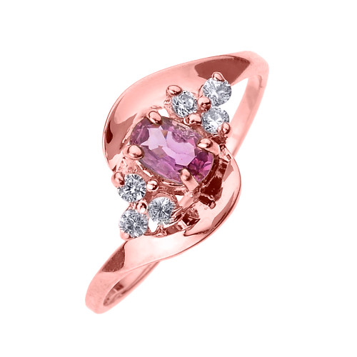 Beautiful Rose Gold Diamond and Pink Sapphire Proposal and Birthstone Ring