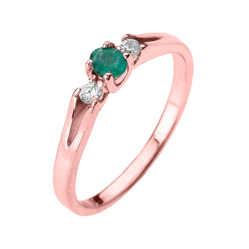 Beautiful Rose Gold Diamond with Emerald Proposal and Birthstone Ring