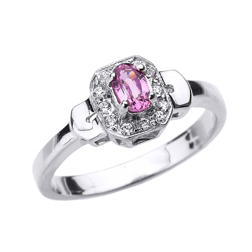 White Gold Pink Sapphire and Diamond Engagement Ring