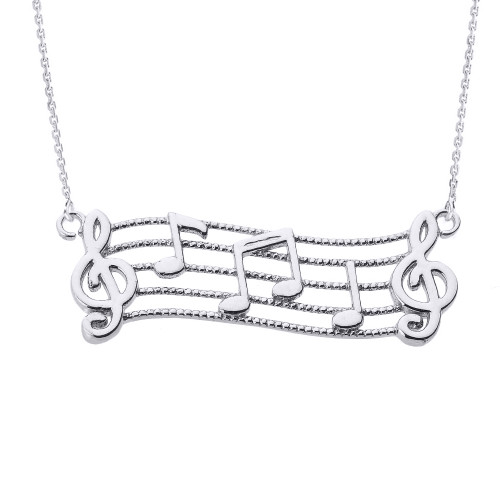 14k White Gold Treble Clef with Musical Notes Pendant Necklace