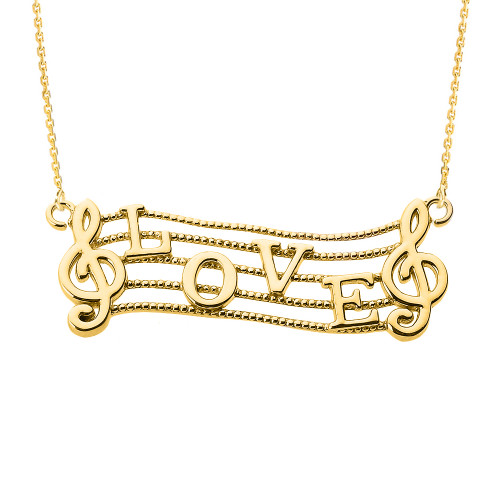 """14k Yellow Gold Treble Clef with """"LOVE"""" Script Pendant Necklace"""